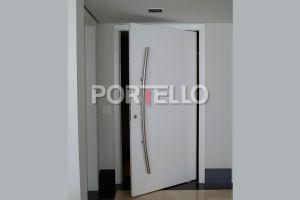 rpl porta pivotante puxador curvo laca branca aberta