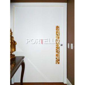 Porta Pivotante hall social laqueado branco puxador mosaico