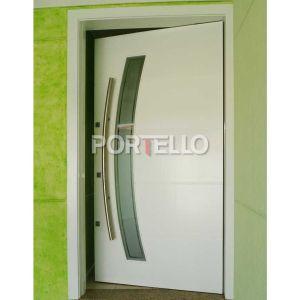 Porta Pivotante Vidro curvo laca branca slvt