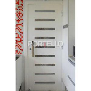Porta cozinha Vidro ripado puxador inox