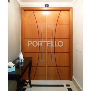 Porta Dupla Frisada madeira curupixa hall privativo